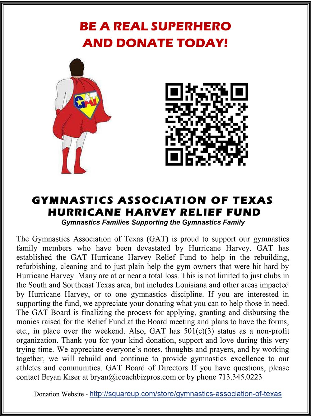 GAT supports the Gulf Coast Gyms damaged by Hurricane Harvey